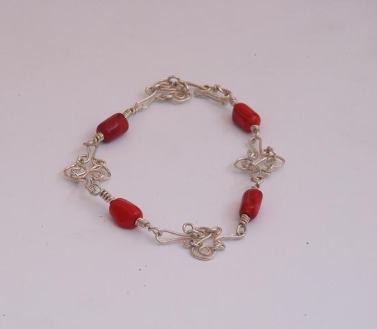 Pulso plata 950, coral